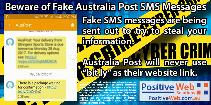 Australia Post SMS scam warning