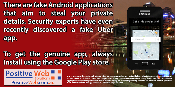 Fake Android phone apps pretending to be from Uber